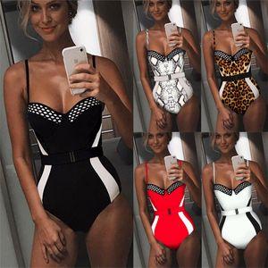 Spaghetti Strap One Piece Swimsuits Sexy Low Cut High Waist Slim Jumpsuits Fashion Summer Women Swimwear