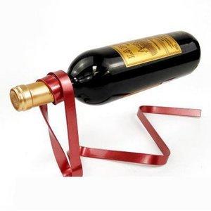 Yaratıcı Bir renkli kurdele şarap standı asma şarap rafı yerçekimi denge şişe braket yenilik hediye stokta 6 renkleri ayarlayabilirsiniz