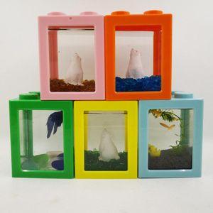 AsyPets Stacking écologique seau Mini Fish Tank Algues balle araignée Box Mini petit reptile Ligne cylindre
