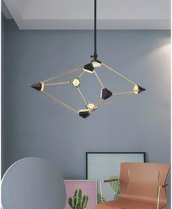 LED se enciende la lámpara moderna minimalista Rombo atmosférica creativa Iluminación para el hogar del norte de Europa Biblioteca dormitorio lámparas de techo Lámparas