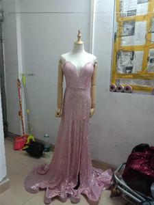 Wedding Party Maxi Vestidos Sexy profundo decote em V vestidos da forma de divisão Backless Vestidos 2020 mulheres Sequins