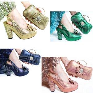 Итальянский персик цвет обувь и соответствующий пакет установлена НИГЕРИЯ нового размера моды 38 до 43 африканского Асо EBI обуви сумки 2020 SB8460-3