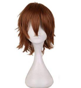 Cosplay corto marrón claro peluca hombre pelucas de pelo sintético de 30 cm