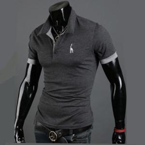 BIAOLUN бренд высокое качество поло Мужчины олень вышивка жираф рубашка мужчины повседневная Лоскутная мужская топы одежда рубашка