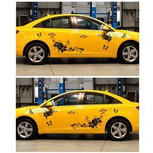 Car Styling Butterfly Rose Pattern Stickers Decorativo Modificado Todo el Cuerpo Calcomanías