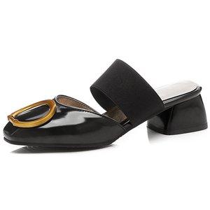 Sexy2019 Toka Yuvarlak Baotou Serin Terlik Kadın En bayan Ayakkabıları 40-43 Kod Uzun Yıllardır Çıkmak Yaşam Ürün 76-1