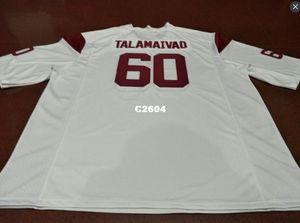 Hommes # 60 rouge-blanc Viane Talamaivao USC Troyens Alumni College Jersey S-4XLor personnalisé un nom ou un maillot de numéro