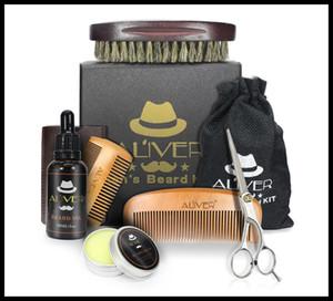 اللحية ALIVER الطبيعية العضوية النفط اللحية شمع بلسم مقص فرشاة الشعر المنتجات يترك على الشعر لينة رطب اللحية مع صندوق البيع بالتجزئة