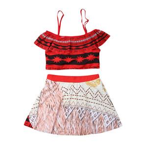 Frauen Spaghetti Strap kalte Schulter Rüschen Tankini gepolsterter Rock 2er Bikini Mom Kids Beachwear Baden zweiteiliger Badeanzug