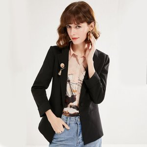 Spring 2020 New Commuter One-Button Blazer Formal Suit Professional Lapel Female Waist Long Sleeve Suit Jacket