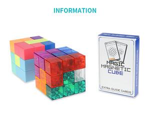 3x3x3 Cubo magnético ABS toque de Puzzle Bloques de Construcción del alivio de tensión con 54 tarjetas de guía Humor Infantil de ensamblado de juguete Juego de Niños