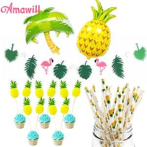 Amawill 파인애플 코코넛 나무 풍선 Ananas Cake Toppers 플라밍고 갈 랜드 종이 빨대 하와이 파티 장식 용품 6D