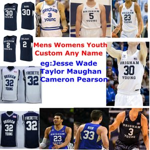 BYU Cougars Maglie Jake Toolson Jersey Jesse Wade Taylor Maughan Cameron Pearson College Basketball Maglie Navy Mens NCAA personalizzato cucito
