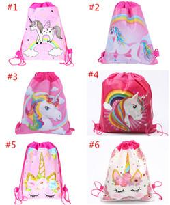 Karikatür Unicorn İpli Çanta Dokuma Sling Çanta Çocuk Sırt Unicorn Okul Çantası Erkekler Kızlar Kılıfı Parti Doğum Hediye 6 Renkler