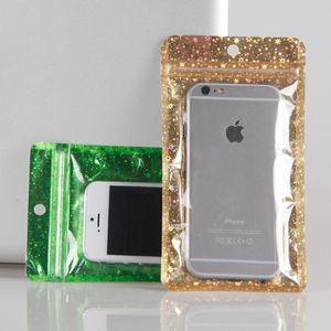 100 pcs Glittery Gold / Verde / Clear Self Self Zipper Armazenamento Pacote Bag Zip Lock Ziplock Bag Pacote de varejo com halder hole