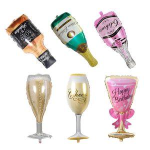 Champán Botella Globos Air Ballon Feliz cumpleaños Decoraciones para fiestas Niños Adultos Favores de boda y regalos Artículos para fiestas de eventos