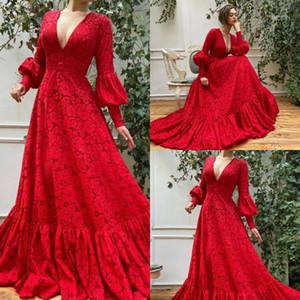 2020 Red A-Line Вечернее платье Deep V-образным вырезом с длинными рукавами Кружева Кружева Аппликация Формальное вечернее платье Sweep TTAIN RUCHED CUSTULD Party Party Party