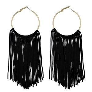 COIRIS New Fashion Hoop Statement Tassels Dangle Drop Earrings For Women (ER1083-Black)