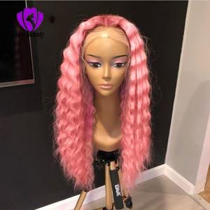 Новый розовый / красный / черный кудрявый парик с ребенком волос Ombre моделирования человеческих волос Парик Honey Blonde синтетические парики фронта шнурка для чернокожих женщин