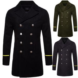 Hombres Invierno sólidos de moda de lana abrigos de doble botonadura larga para hombre Outwear la solapa de la manera del Mens Neck Tops