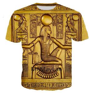 Retro Vintage egípcio Faraó Guarda 3D Imprimir camiseta Homens / woment-shirt Verão Homem Mulheres Crewneck camiseta Roupa Tops U2047