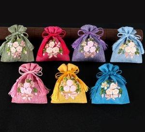 Borla pequeña tela de lino del favor de los bolsos del regalo de boda del lazo de bolsos hechos a mano de la cinta del bordado Vaciar Bolsita Embalaje Bolsas joyería XD23266
