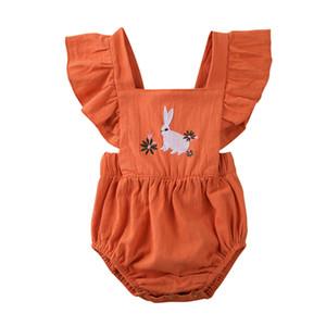 Neugeborenes Baby-Häschen-Overall Rüschenärmel Bow Cozy Body infant-Kleidung NEW