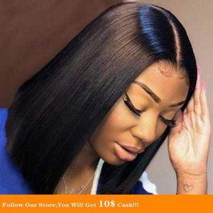 Silky Short Bob glattes Haar Perücke Spitze-Front-Perücke Gefälschte Scalp Pre gerupft Natural Color 360Lace Mit Baby-Haar