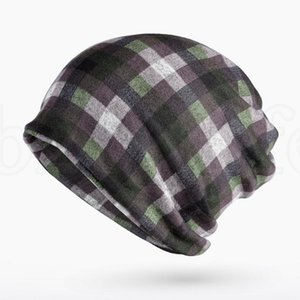 Klassische karierte Hut Mode Winter-Mützen Hüte Frauen Female Zwei Used Cap Schal gestrickte Knochen Hat Warm Skullies Beanies 9 Farben LJJK187