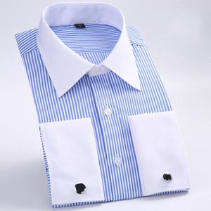 New Style Cotton White Men Wedding Prom Dinner Groom Shirts Wear Bridegroom Man Shirt Classic Striped Men Dress Shirts
