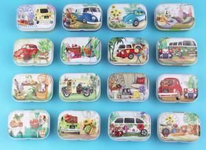 저렴 한 32pcs 귀여운 휴가 여행 및 자동차 패턴 작은 깡통 상자 귀여운 달콤한 사탕 상자 보석 보관 케이스 베이비 샤워 호의