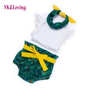 PeacockRomper Bloomer 3pcs / Set 아기 의류 세트 여자 0-2 년 생일 선물 복장 아이 귀여운 아기 소녀 옷 Y18120801