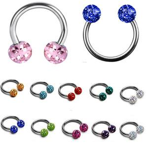 1Pc 16g Crystal Ferido Balls Circular Barbell Horseshoe CBB Ferido Epoxy Septum Rings Nose Labret Tragus Body Piercing Jewelry