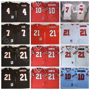 Nuevo Fútbol 7 Michael Vick jerseys 4 Brett Favre 21 Deion Sanders 10 Steve Bartkowski Rojo Negro Blanco Hombres de la puntada de la vendimia