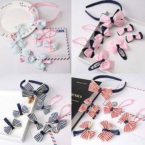 M MISM 7PCS Bow Hair Clips Elastic Hair Bands for Girls Kids Hairpins Hair Accessories Hoop Set Scrunchy Headband Rubber Band