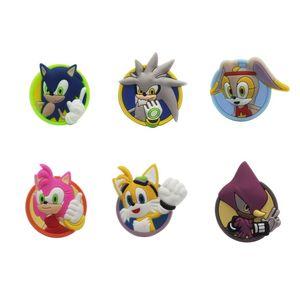 1pcs Sonic The Hedgehog Cartoon Shoe Charms PVC Shoes Accessories Croc Decoration Jibz Ornaments Shoe Buckles Kids Friends Gift