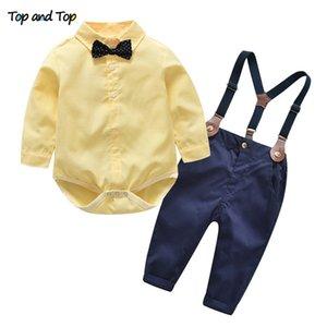 상단 및 상단 가을 어린이 소년 의류 세트 아기 소년 신사 복장 타이 + 팬티 MX190803와 긴 소매 Romper 셔츠