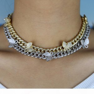 iced out bling cz Miami cuban link chain Butterfly charm choker necklace hip hop women jewelry