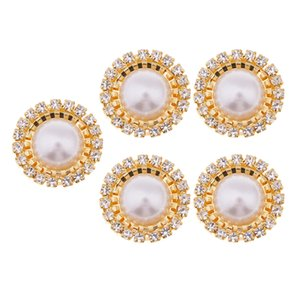 5 10 Pieces Round Pearl Rhinestone Flatback Buttons Charms Cabochon Embellishment for Wedding Invitation Card Making Party Decoration