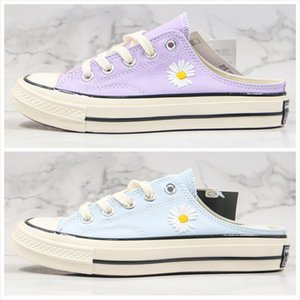 With Box New Canvas Shoes One Pedal GD Daisy Chuck 70 Sky Blue Taro Purple Slippers Women Casual Outdoor Shoes