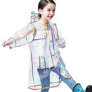어린이 만화 비옷 아이 후드 패션 투명 무지개 두꺼운는 학생 방수 스타일 레인 코트 # G40을 비옷