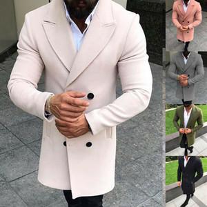 Moda Erkekler Hendek Yün Uzun Kollu Katı Uzun Palto Sıcak Kış Mod Coat Cep Yaka Düğme İlkbahar Sonbahar Giyim 2020