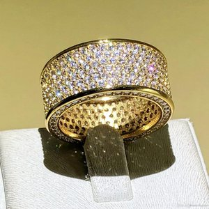 Hotyou Luxurious Jewelry Paragraph 925 Silver Gemstone Rings Finger Shining 320pcs Full Simulated Diamond Gold Ring for Women Men