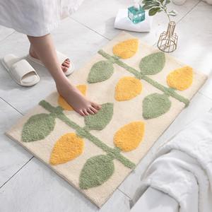 Flocking quarto sala de estar tapete simples cozinha casa casa de banho antiderrapante pé pad