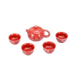 Смарт Marble Texture Kong Fu Чайный набор традиционный китайский керамический Teaware с 1 чайника 4 чашки чая Красный Синий Зеленый Свадебные подарки
