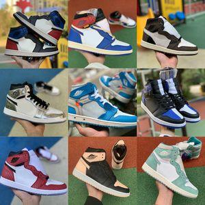 Sales High 1 OG Travis Scotts Basketball Turbo Green Origin Story Gs Banned NRG X Union Retroes 1s Unc White Blue Sports Shoes