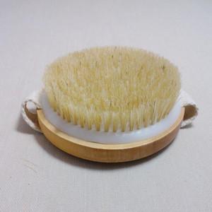 Escova corpo redondo Natural Horsehair sem punho seco banho Pele Duche Brushes SPA Duche de Massagem de madeira Escovas LX1336