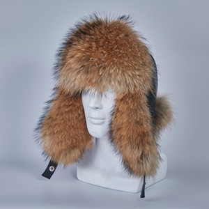 russian ushanka hats of real raccoon fur trapper hat earflap men real silver  fur genuine leather russian winter cap H210