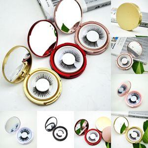 Neueste Rose Gold-Rosa-Farbe Leer-Kasten-Speicher-Spiegel Box Eye Lashes Non Magnet Wimper Box