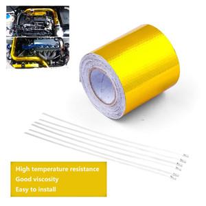 10M درجة الحرارة عالية مقاومة للحرارة الدرع التفاف + 6 الفولاذ المقاوم للصدأ العلاقات الحرارة عاكس لاصق المدعومة لفة